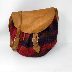 Woven Sisal Leather Trim Hobo Bag